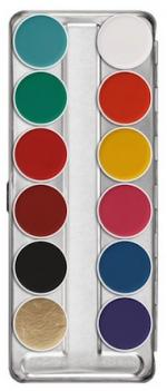Déguisements Palette maquillage fard à eau 12 couleurs Kryolan