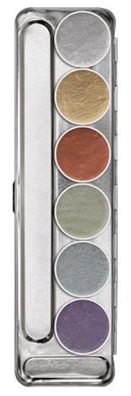 Déguisements Palette maquillage fard à eau métallique 6 couleurs