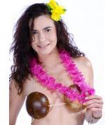 Collier hawaïen tissu Rose