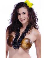 Collier hawaïen tissu Noir