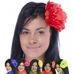 Déguisements Barette fleur fluo grand modèle
