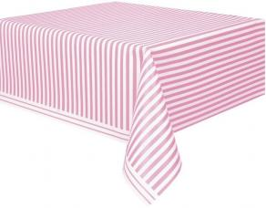 nappe plastique rayee rose et blanche
