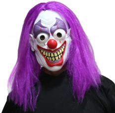 masque de clown effrayant complet avec cheveux