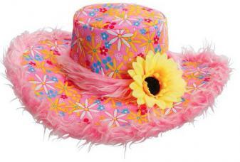 chapeau hippie rose fleuri