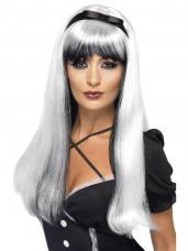perruque sorciere argent et noire longue avec noeud