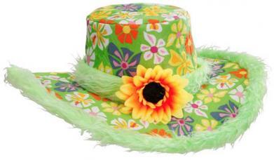 chapeau fleuri annees 60 vert