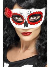 masque mexicain de la mort avec rose