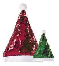 Bonnet de Noël réversible rouge et vert pailleté