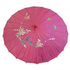 ombrelle chinoise en tissu decore fuchsia