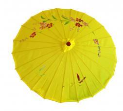 ombrelle chinoise en tissu decore jaune