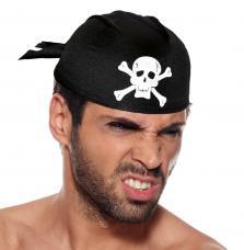 coiffe pirate noir et tete de mort