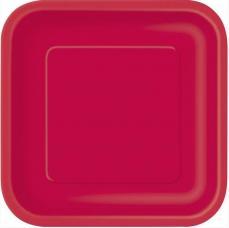 assiettes carre rouge en carton