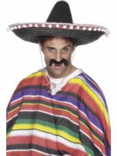 chapeau paille mexicain noir