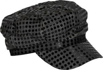 casquette disco noire paillettee