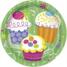 8 assiettes a dessert anniversaire cupcake