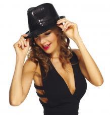 chapeau trilby noir sequins