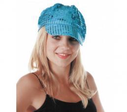 casquette disco bleu paillettee