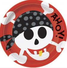 assiettes anniversaire pirate rouge