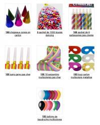 Pack cotillons multicolores 100 personnes pas cher