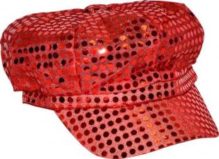 casquette disco rouge paillettee
