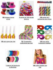 pack cotillons multicolores 100 personnes luxe