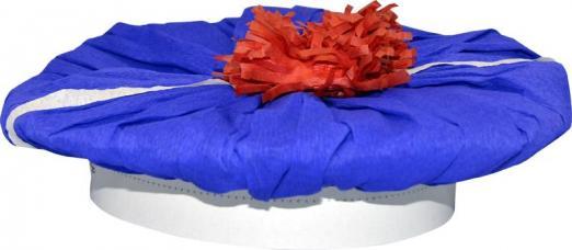 chapeau marin bleu en papier crépon