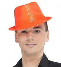 chapeau trilby orange sequins