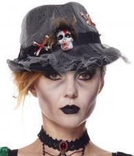 chapeau halloween en tissu avec tête de mort