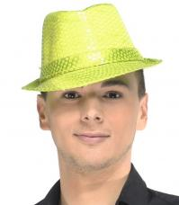 chapeau trilby jaune fluo sequins