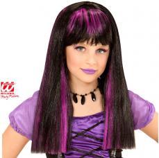 perruque sorciere meches violettes enfant