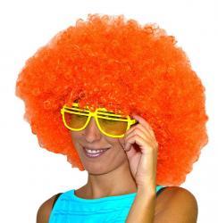 Perruque afro de couleur orange pour adulte