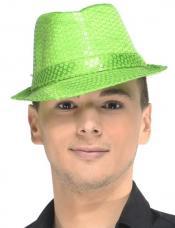 chapeau trilby vert sequins