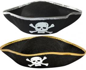 chapeau de pirate adulte noir avec bordure
