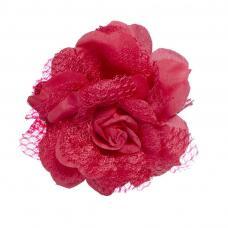 fleur rouge montee sur barrette