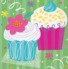 16 serviettes anniversaire Cupcake
