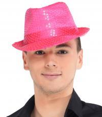 chapeau trilby fuchsia sequins