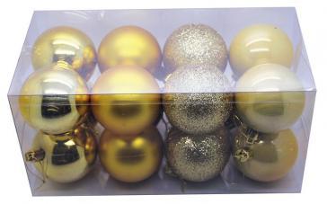 boite de 16 boules de noel de couleur or