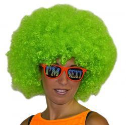 Perruque afro de couleur verte pour adulte