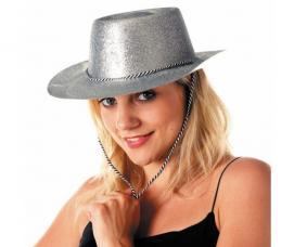 chapeau cowboy argent a paillettes et pvc