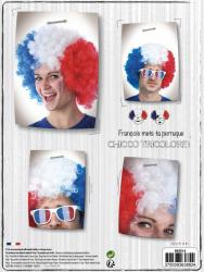 Perruque supporter Big Afro Tricolore pas cher