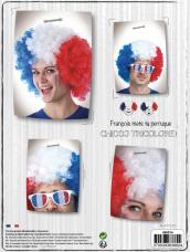 perruque supporter big afro tricolore