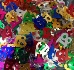 Confettis numéro 18 multicolores