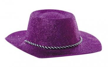 chapeau cowboy turquoise a paillettes pvc