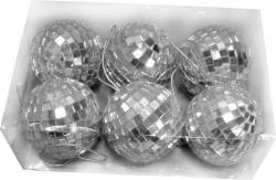 Boite de 6 boules de Noël à facette de couleur argent pas cher