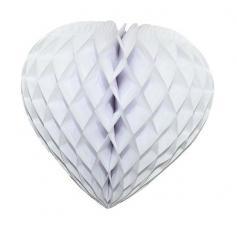 coeur en papier alveole blanc