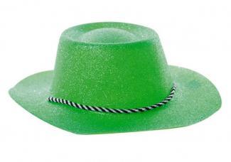 chapeau cowboy vert a paillettes