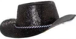 Chapeau cowboy noir à paillettes pvc pas cher