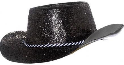 chapeau cowboy noir a paillettes pvc