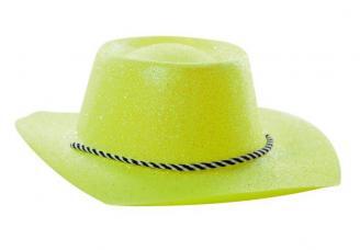 chapeau cowboy jaune a paillettes pvc