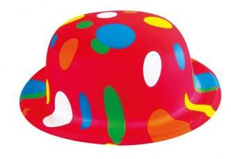 chapeau melon rouge à pois